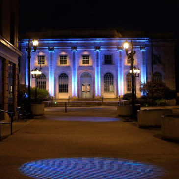 Pittsfield City Hall Lit Up With Kinetic Lights