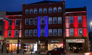 Shipton Building lit up